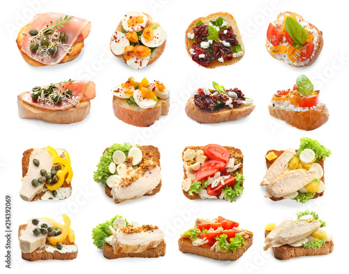 Poster de jardin Entree Set with different delicious bruschettas on white background