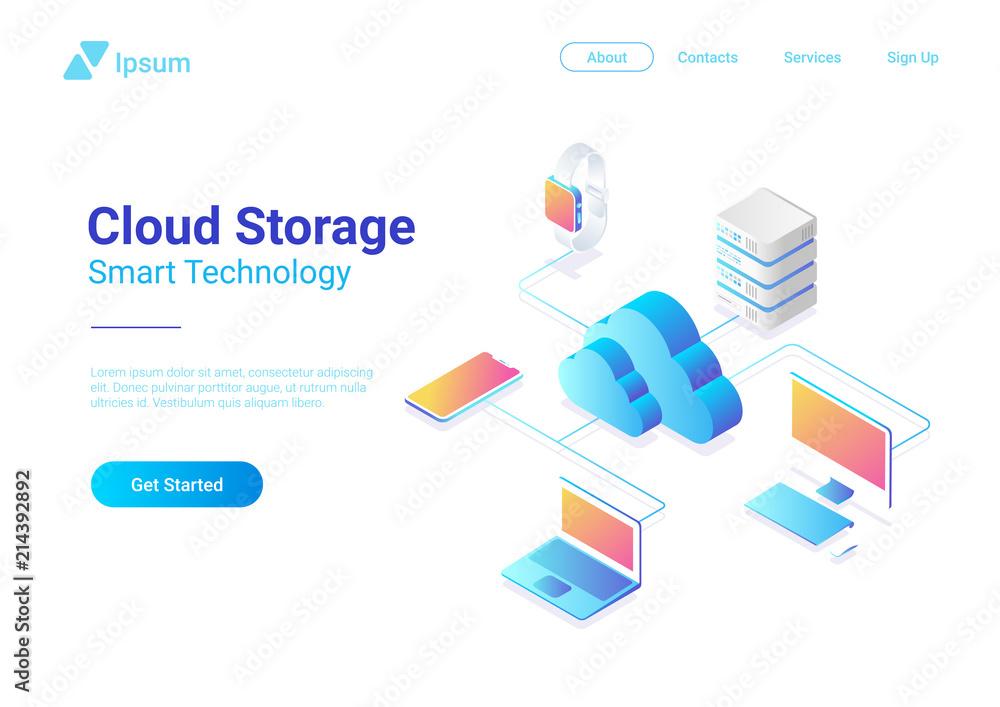 Fototapeta Isometric Flat Cloud Hosting Network vector. Online Storage