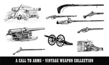 Vintage Guns & Cannon Illustration Collection