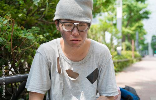 Fotografie, Obraz ホームレス・悩む