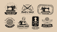 Tailor Shop, Yarn Logo Or Label. Tailoring Concept. Vector Illustration