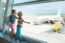 Kids Travel And Fly. Child At ...