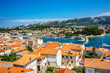 Town Rab on Croatian island from above