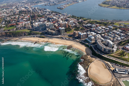 Poster Oceania Newcastle Beach - aerial view Newcastle NSW Australia. Newcastle is the second oldest city in Australia and major centre north of Sydney.