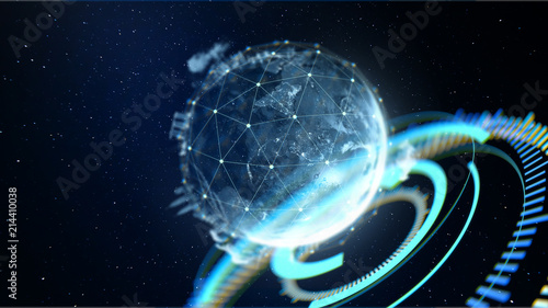 fototapeta na ścianę Abstract globe with connected dots wireless communication network on space . Global business concept . 3d rendering