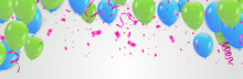 Vector Party Balloons Blue And Green Illustration. Confetti And Ribbons Flag Celebration Greeting Card, Festive Poster Etc.