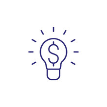 Money Making Idea Line Icon. Lightbulb, Bulb, Dollar Symbol. Finance Concept. Can Be Used For Topics Like Investment, Startup, New Project