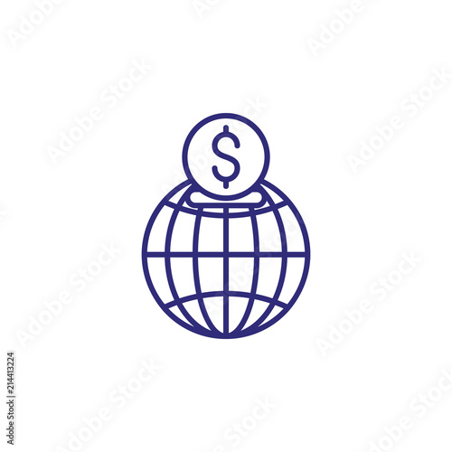 International investment line icon  Globe, money box, dollar