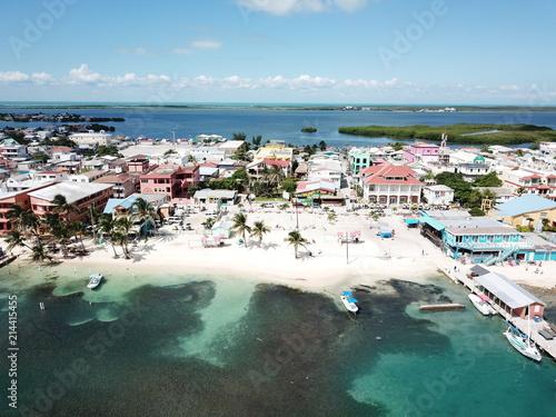 San Pedro Town, Ambergris Caye, Belize Aerial Canvas Print