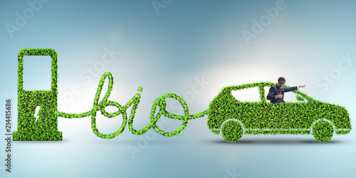Photo Businessman with car powered with biofuel