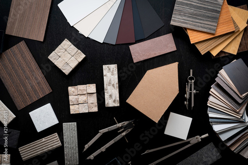 Photo  creativity house design ideas concept with sample of material venner wood stone