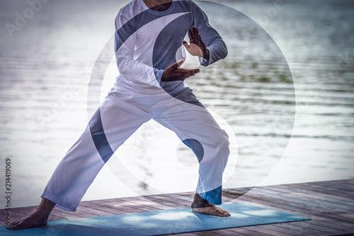 Fototapeta  Man hands doing Tai Chi or Tai ji with Yin Yang symbol, Traditional Chinese martial arts