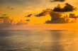 dramatic sunset at sea with cloudy sky landscap photo background.