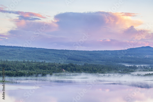 Tuinposter Purper Nordic evening light over a lake with fog in a forest landscape