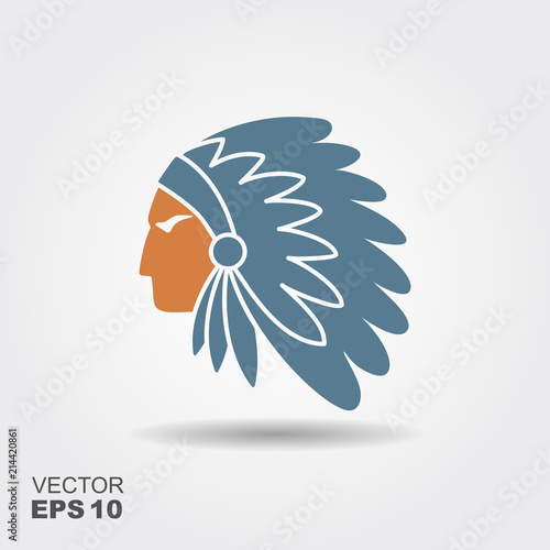 Native American Indian chief with feather headdress vector icon Wallpaper Mural