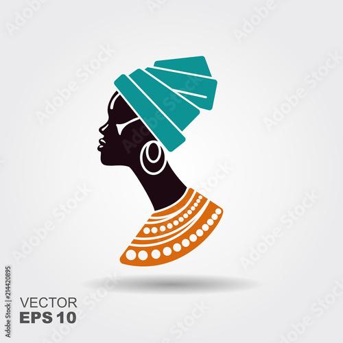 Cuadros en Lienzo Portrait beautiful African woman in traditional turban