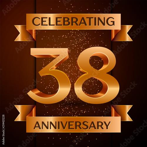 Fotografia Realistic Thirty eight Years Anniversary Celebration design banner