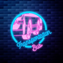 Vintage Bus Transportation Emblem Glowing Neon