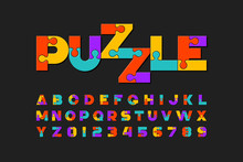 Puzzle Font, Colorful Jigsaw P...