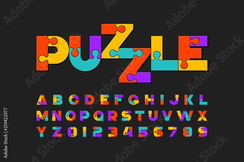 Fototapeta Puzzle font, colorful jigsaw puzzle alphabet letters and numbers