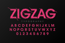 Zigzag Font Stitched With Thre...