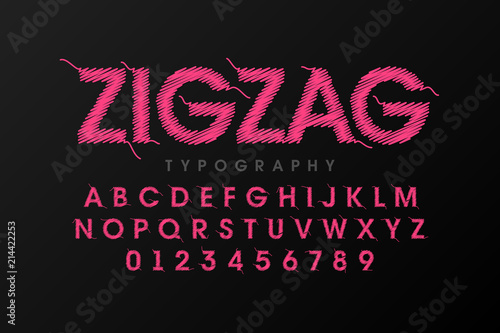 Zigzag font stitched with thread, embroidery font alphabet letters and numbers Wallpaper Mural