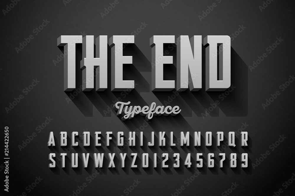 Fototapety, obrazy: Retro style condensed font, The End title