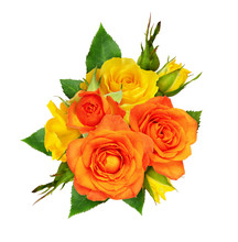 Orange And Yellow Rose Flowers And Leaves In A Floral Arrangement
