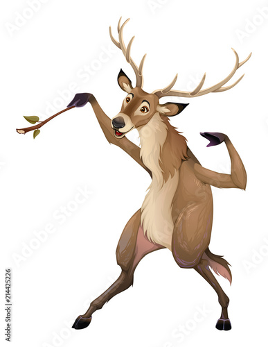 Poster Kinderkamer Funny deer is playing with a branch like a conductor
