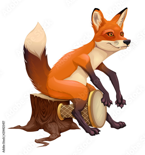 Poster Kinderkamer Funny fox is playing with the drum.