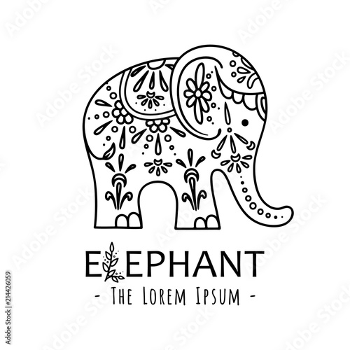 Cute elephant with ornate floral ornament. Vector