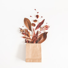 Autumn Composition. Paper Bag With Autumn Dried Flowers And Leaves On Whute Background. Flat Lay, Top View, Square