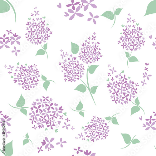 Seamless lilac flowers pattern on white background. Wallpaper Mural