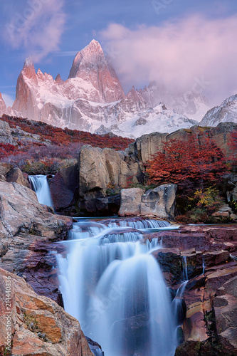 Printed kitchen splashbacks Purple The Mount Fitz Roy and the waterfall at dawn. Los Glaciares National Park, Andes,Santa Cruz province, Patagonia, Argentina