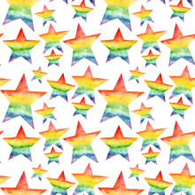 Hand Painted Watercolor Seamless Pattern With Rainbow Stars Isolated On White