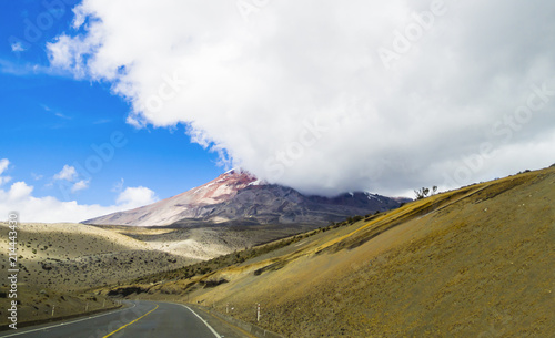 Poster Zuid-Amerika land Stunning landscape with scenic road and Chimborazo volcano shrouded in the clouds, Ecuador