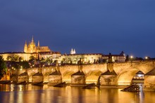 Charles Bridge And Prague Castle On Evening