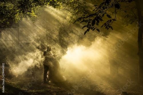 Valokuva  The wedding portrait in foggy smoke