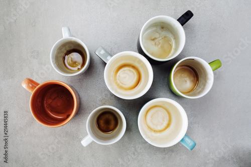 Obraz Many empty cups of coffee top view - fototapety do salonu