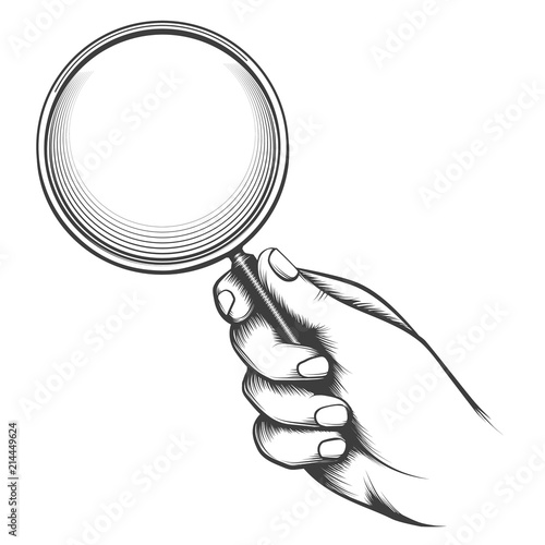 Fototapeta Vintage magnifier glass. Victorian man hand old sketch with magnifying glass, detective hand retro drawing vector illustration obraz na płótnie