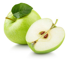 Ripe Green Apple Fruit With Apple Half And Green Leaf Isolated On White Background. Apples And Leaf With Clipping Path