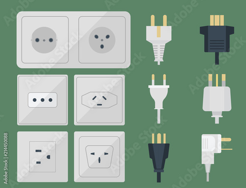 Electric plugs stack outlet illustration energy socket electrical outlets plugs european and usa, asia appliance interior icon Fototapet