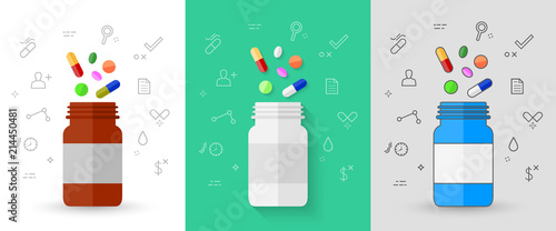 Fotografia Colorful pills, tablets and capsules with pill bottle and related medicine line icons