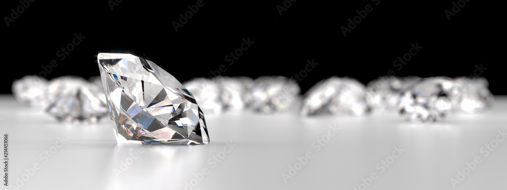 Fototapeta Group of Diamonds placed on reflection background, 3d rendering.