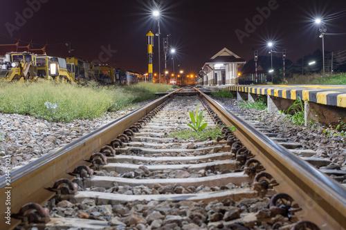 Fotografía  夜・鉄道・電車・レール・線路