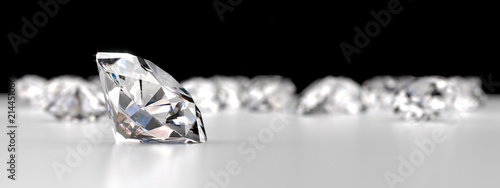 Valokuva  Group of Diamonds placed on reflection background, 3d rendering.