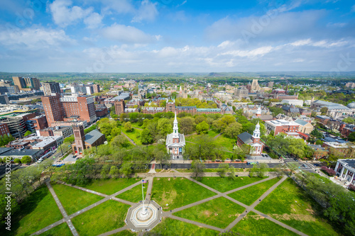 Fototapeta View of the New Haven Green and downtown, in New Haven, Connecticut obraz