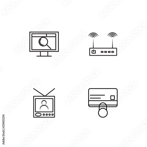 Fotografia, Obraz  Electrical Devices linear icons set. Simple outline vector icons