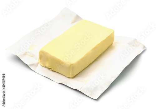 Block butter in open wrapping