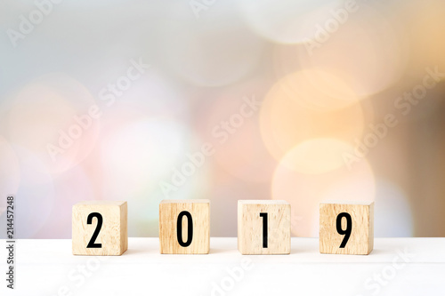New Year Greeting Card Template | 2019 New Year Greeting Card Template 2018 On Wooden Cubes On White